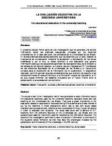 LA EVALUACIÓN EDUCATIVA EN LA DOCENCIA UNIVERSITARIA