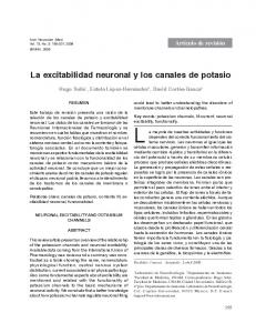 La excitabilidad neuronal y los canales de potasio