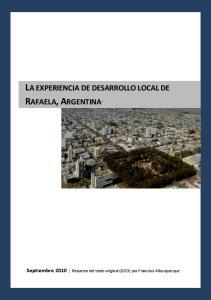 LA EXPERIENCIA DE DESARROLLO LOCAL DE RAFAELA, ARGENTINA 1