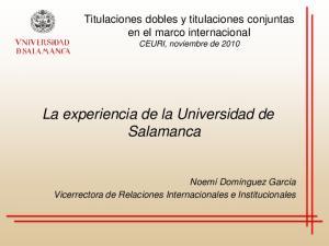La experiencia de la Universidad de Salamanca