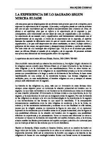 LA EXPERIENCIA DE LO SAGRADO SEGUN MIRCEA ELIADE