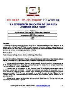 LA EXPERIENCIA EDUCATIVA DE UNA RUTA LITERARIA EN LA RIOJA