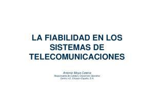 LA FIABILIDAD EN LOS SISTEMAS DE TELECOMUNICACIONES