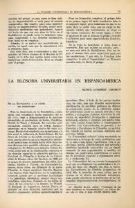 LA FILOSOFIA UNIVERSITARIA EN HISPANOAMERICA