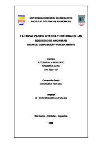 LA FISCALIZACION INTERNA Y EXTERNA EN LAS SOCIEDADES ANONIMAS