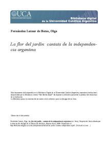 La flor del jardín: cantata de la independencia argentina
