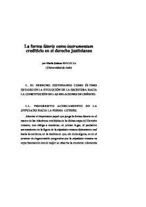 La forma litteris como instrumentum crediticio en el derecho justinianeo