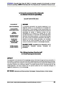 La formación permanente del profesorado en entornos virtuales de aprendizaje