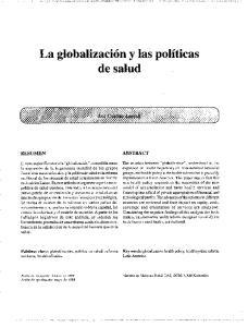 La globalizacion y las politicas de salud