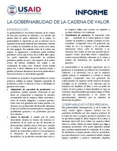LA GOBERNABILIDAD DE LA CADENA DE VALOR