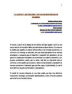 LA GUERRA Y LOS RECURSOS NATURALES ESRATEGICOS EN COLOMBIA