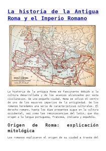 La historia de la Antigua Roma y el Imperio Romano