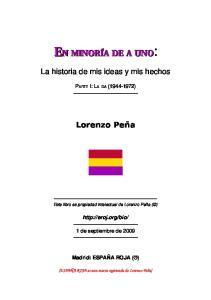 La historia de mis ideas y mis hechos. Lorenzo Peña