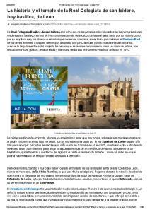 La historia y el templo de la Real Colegiata de san Isidoro, hoy basílica, de León