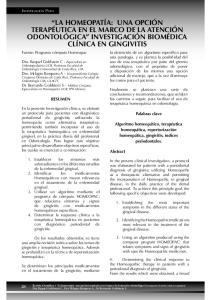 LA HOMEOPATÍA: UNA OPCIÓN TERAPÉUTICA EN EL MARCO DE LA ATENCIÓN ODONTOLÓGICA INVESTIGACIÓN BIOMÉDICA CLÍNICA EN GINGIVITIS