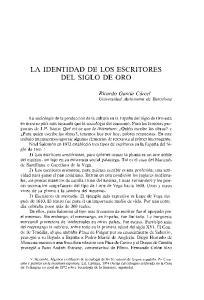 LA IDENTIDAD DE LOS ESCRITORES DEL SIGLO DE ORO