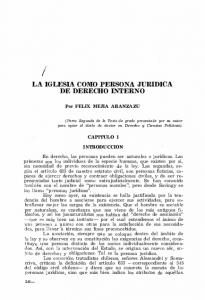 LA IGLESIA COMO PERSONA JURIDICA DE DERECHO INTERNO