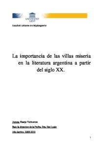 La importancia de las villas miseria en la literatura argentina a partir del siglo XX