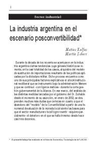 La industria argentina en el escenario posconvertibilidad*