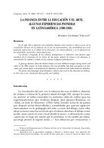 LA INFANCIA ENTRE LA EDUCACIÓN Y EL ARTE. ALGUNAS EXPERIENCIAS PIONERAS EN LATINOAMÉRICA ( )