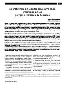 La influencia de la radio educativa en la intimidad de las parejas del Estado de Morelos
