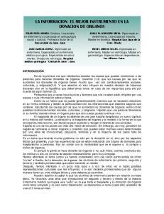 LA INFORMACION EL MEJOR INSTRUMENTO EN LA DONACION DE ORGANOS