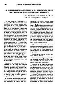 LA INSEMINACION ARTIFICIAL Y SU APLICACION EN EL, TRATAMIENTO DE LA ESTERILIDAD APARENTE