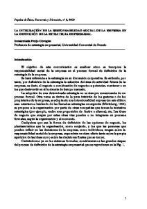 LA INTEGRACIÓN DE LA RESPONSABILIDAD SOCIAL DE LA EMPRESA EN LA DEFINICIÓN DE LA ESTRATEGIA EMPRESARIAL