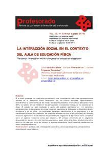 LA INTERACCIÓN SOCIAL EN EL CONTEXTO