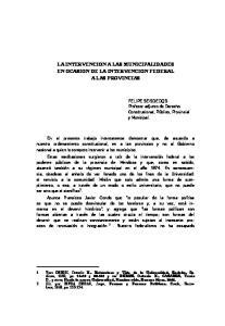 LA INTERVENCION A LAS MUNICIPALIDADES EN OCASION DE LA INTERVENCION FEDERAL A LAS PROVINCIAS
