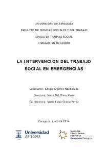 LA INTERVENCION DEL TRABAJO SOCIAL EN EMERGENCIAS