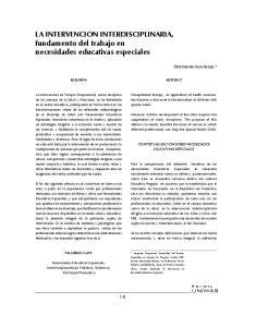 LA INTERVENCION INTERDISCIPLINARIA, fundamento del trabajo en necesidades educativas especiales
