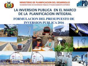 LA INVERSION PUBLICA EN EL MARCO DE LA PLANIFICACION INTEGRAL