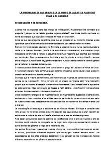 LA INVISIBILIDAD DE LAS MUJERES EN EL MUNDO DE LAS ARTES PLASTICAS PILAR V. DE FORONDA INTRODUCCION Y METODOLOGIA