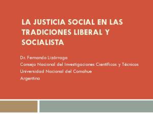 LA JUSTICIA SOCIAL EN LAS TRADICIONES LIBERAL Y SOCIALISTA
