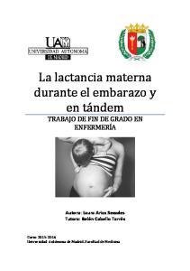 La lactancia materna durante el embarazo y en tándem TRABAJO DE FIN DE GRADO EN ENFERMERÍA