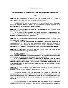 LA LEGISLATURA DE LA PROVINCIA DE ENTRE RIOS SANCIONA CON FUERZA DE LEY: