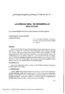 LA LENGUA ORAL. SU DESARROLLO EN LAE.G.B