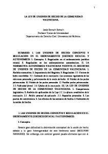 LA LEY DE UNIONES DE HECHO DE LA COMUNIDAD VALENCIANA