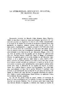 LA LITERARIEDAD: RESPIRACION ARTIFICIAL, DE RICARDO PIGLIA