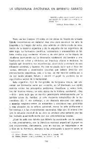 LA LITERATURA ARGENTINA EN ERNESTO SABATO