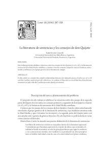La literatura de sentencias y los consejos de don Quijote