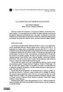 LA LITERATURA EN TIEMPOS DE AUGUSTO