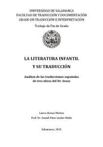 LA LITERATURA INFANTIL Y SU TRADUCCIÓN