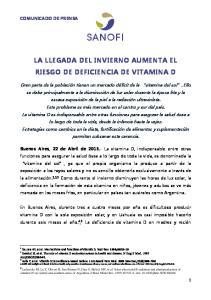 LA LLEGADA DEL INVIERNO AUMENTA EL RIESGO DE DEFICIENCIA DE VITAMINA D
