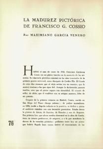 LA MADUREZ PICTÓRICA DE FRANCISCO G. COSSIO