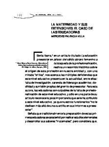 LA MATERNIDAD Y SUS EXTENSIONES: EL CASO DE LAS EDUCADORAS