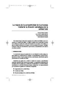 La mejora de la competitividad de la empresa mediante la dirección estratégica de la calidad total