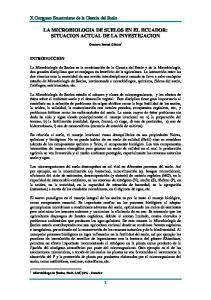 LA MICROBIOLOGIA DE SUELOS EN EL ECUADOR: SITUACION ACTUAL DE LA INVESTIGACION