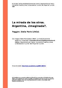 La mirada de los otros. Argentina, Imaginada?